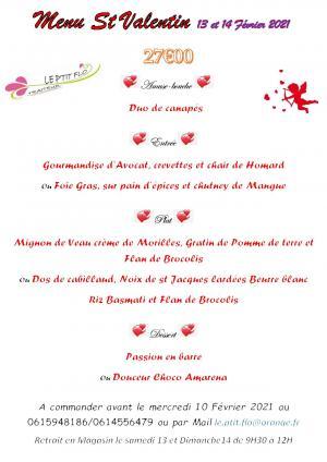Menu St valentin !!!