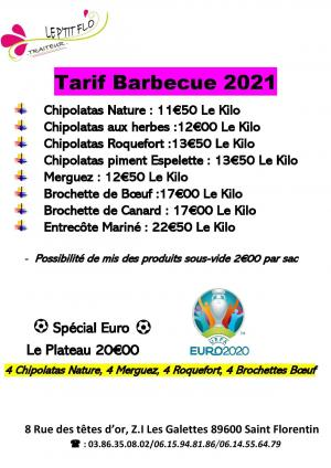 Tarif Barbecue 2021
